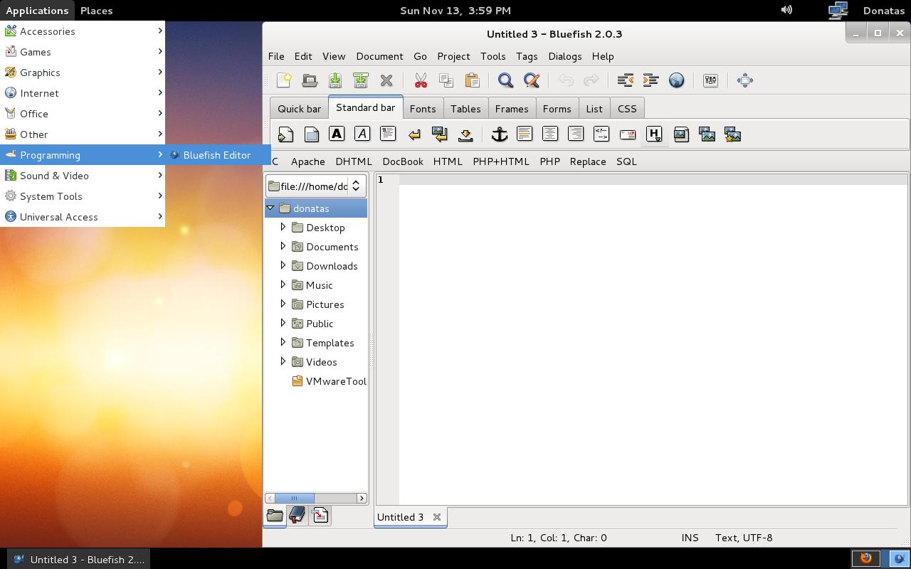 Fedora - Bluefish Editor Window