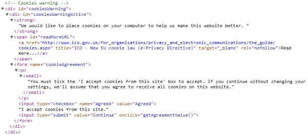 Cookie Warning HTML code
