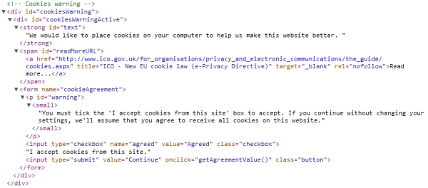 Cookies Warning HTML source code updated