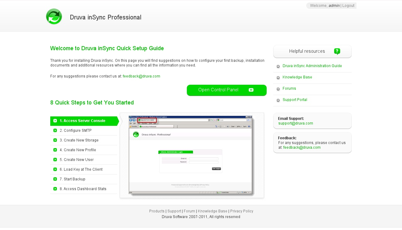 Fedora - Druva Administrator Welcome Page
