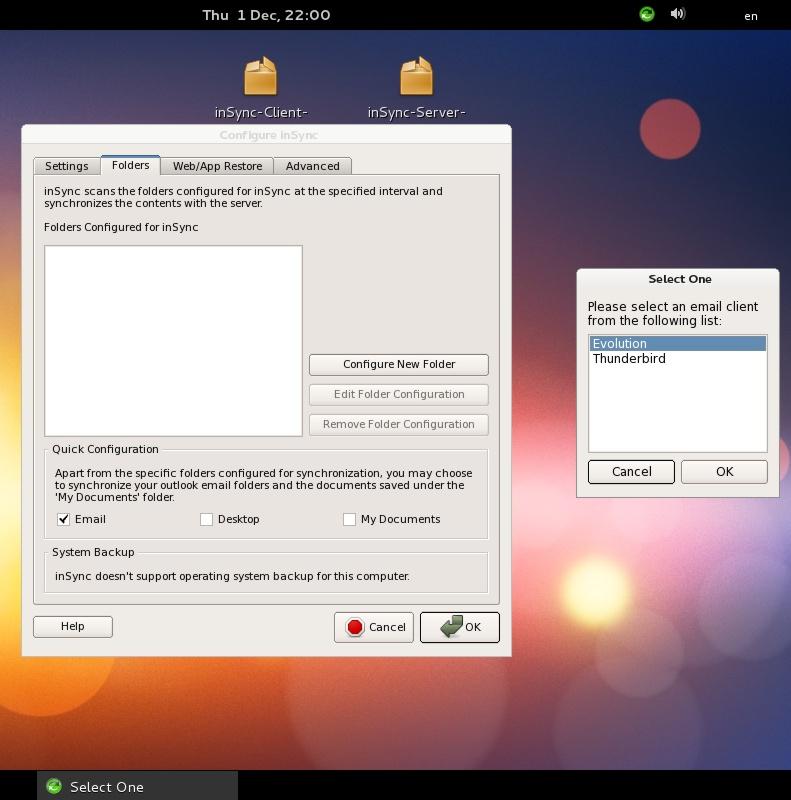 Fedora - Druva inSync Client Configuration