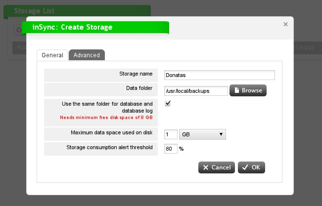 Fedora - Druva Storage Folder Setup 2