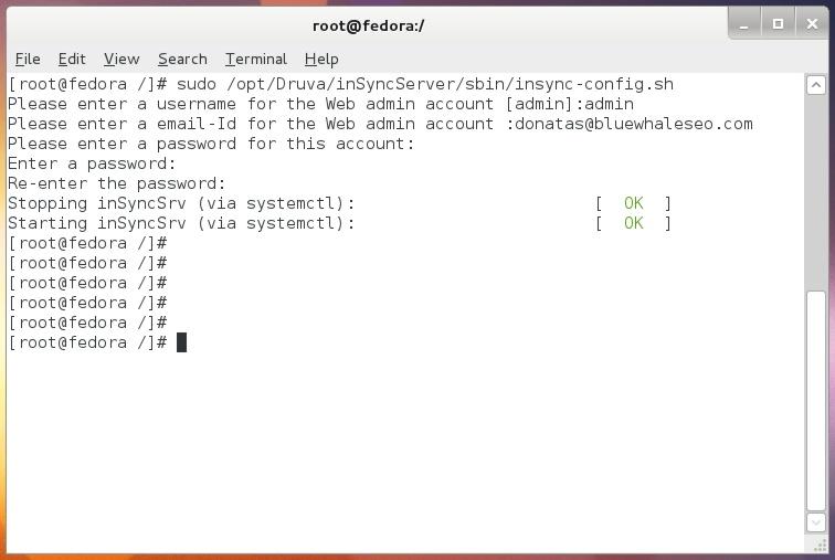 Fedora - Druva Web Account Setup