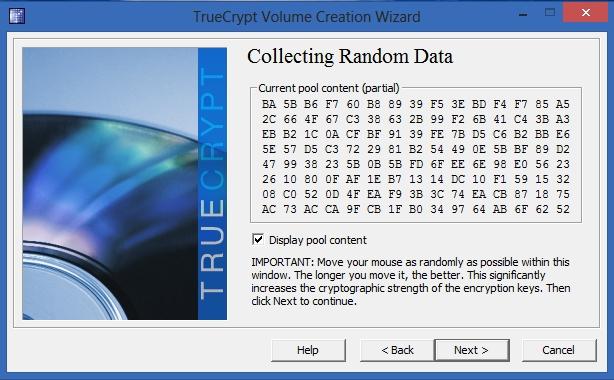 TrueCrypt - Collecting Random Data