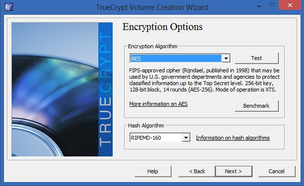 TrueCrypt - Encryption Options