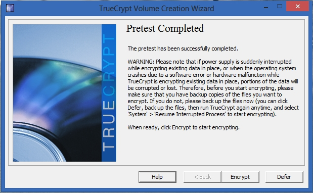 TrueCrypt -  Pretest Completed
