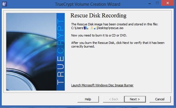 TrueCrypt - Rescue Disk Recording