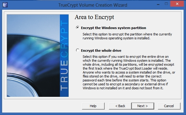 TrueCrypt - Area to Encrypt