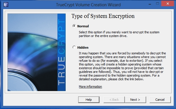 TrueCrypt - Type of System Encryption