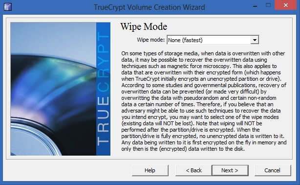 TrueCrypt - Wipe Mode