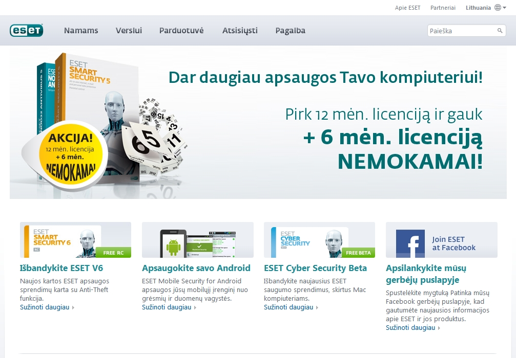 ESET Lithuania website content optimization