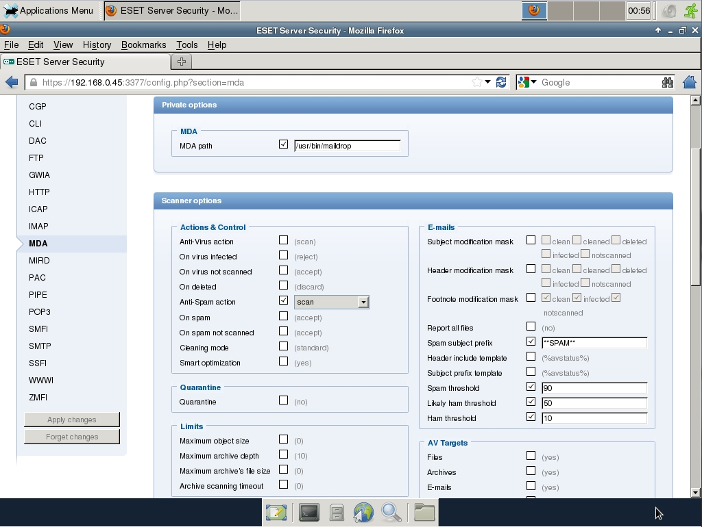 ESET Server Security Web Interface - MDA