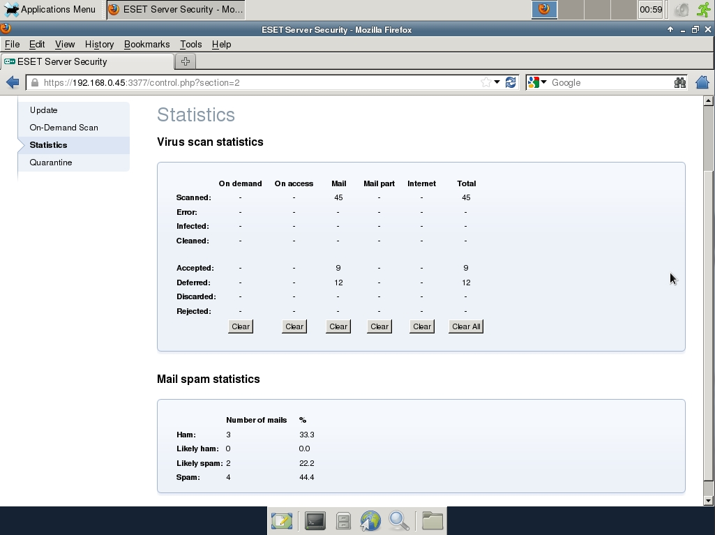 ESET Server Security Web Interface - Statistics