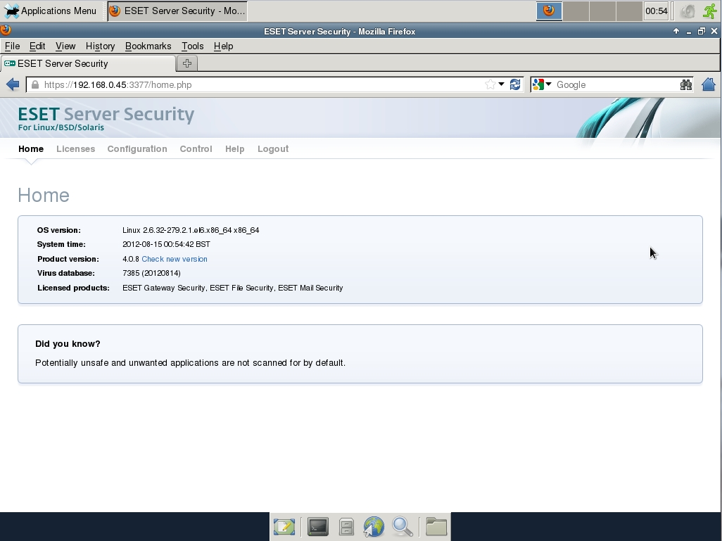 ESET Server Security Web Interface