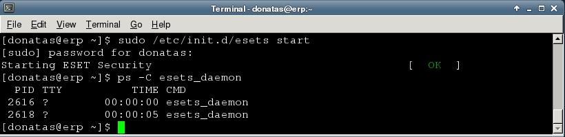 esets daemon startup