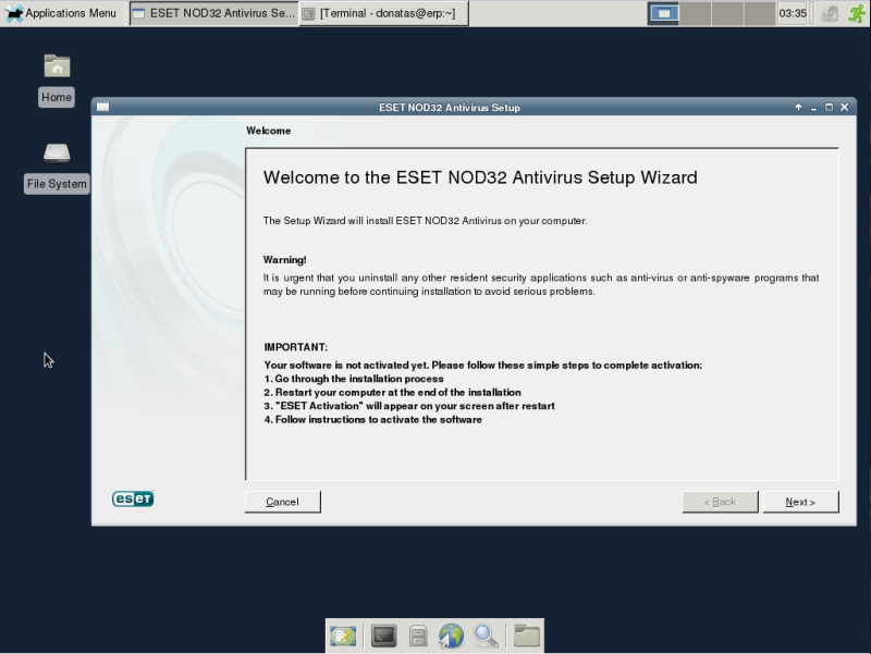 ESET NOD32 4 Antivirus installation on CentOS 6 XFCE desktop -  GUI welcome screen