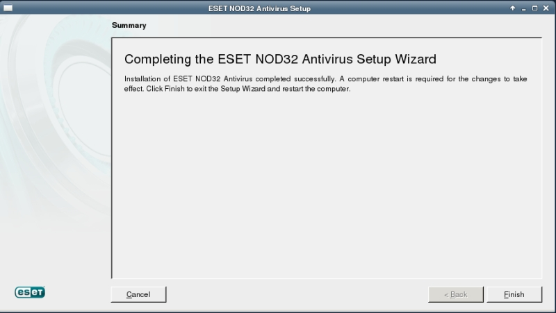 ESET NOD32 4 Antivirus installation on CentOS 6 XFCE desktop -  installation summary