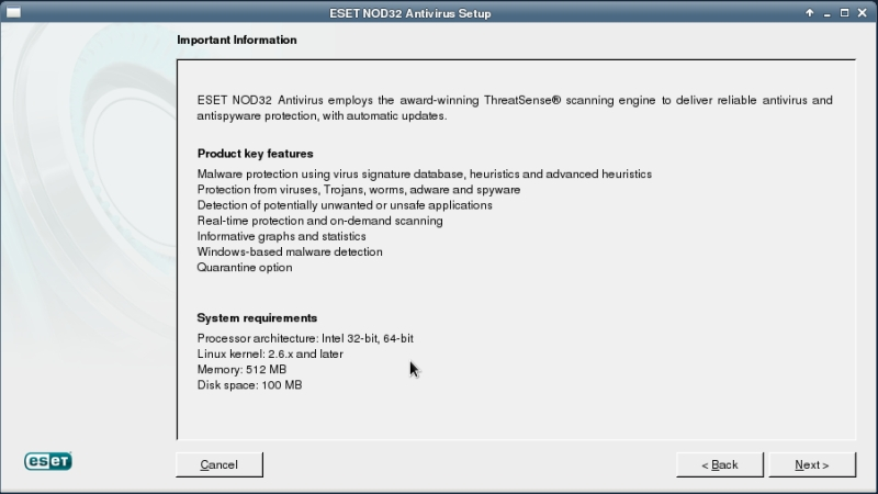 ESET NOD32 4 Antivirus installation on CentOS 6 XFCE desktop -  Installation information