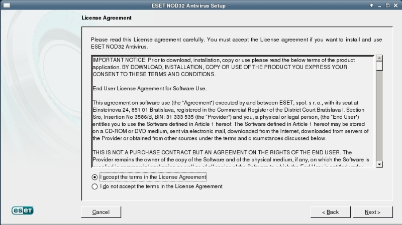 ESET NOD32 4 Antivirus installation on CentOS 6 XFCE desktop -  User Agreement