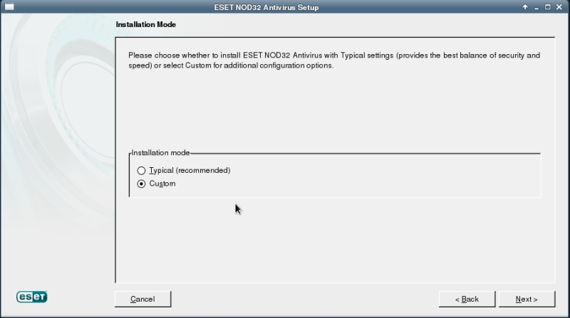 ESET NOD32 4 Antivirus installation on CentOS 6 XFCE desktop -  Installation Mode