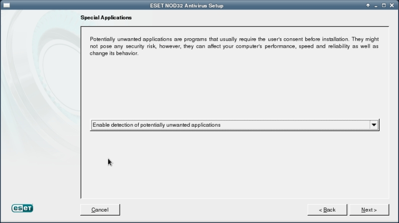 ESET NOD32 4 Antivirus installation on CentOS 6 XFCE desktop -  Special Applications