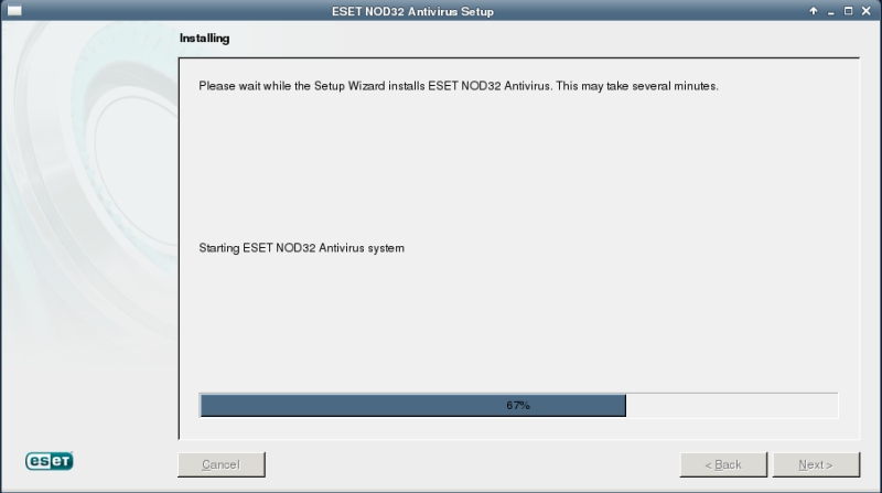 ESET NOD32 4 Antivirus installation on CentOS 6 XFCE desktop -  Installation progress