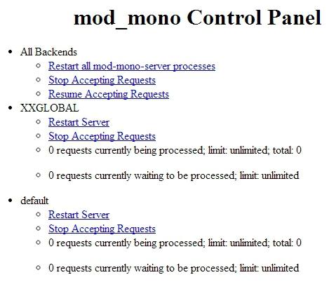mod_mono Control Panel