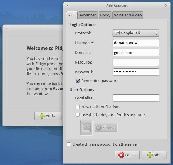 Xubuntu Pidgin IM setup 2