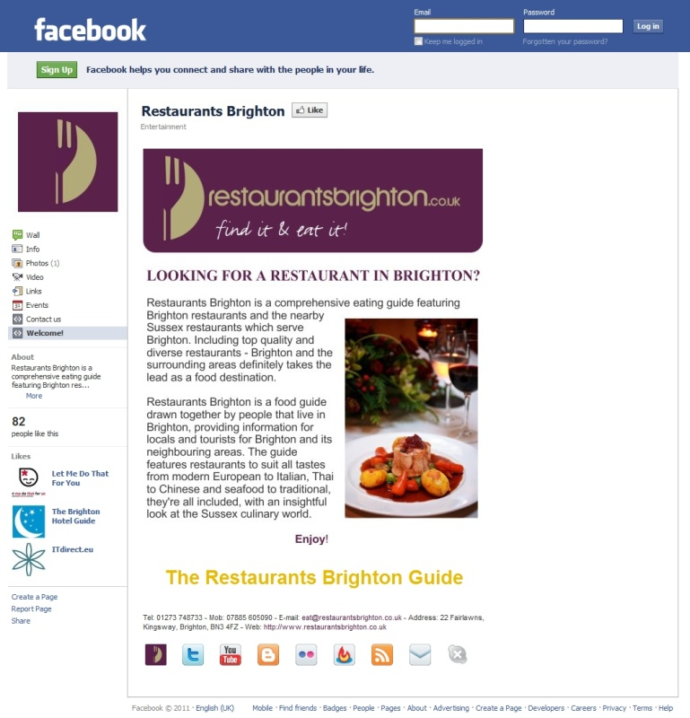 Restaurants Brighton Guide Facebook Page