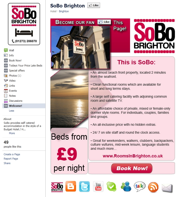 SoBo Brighton Facebook Welcome page