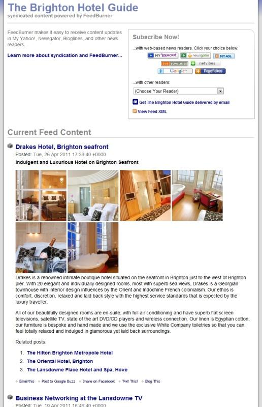 The Brighton Hotel Guide FeedBurner Service