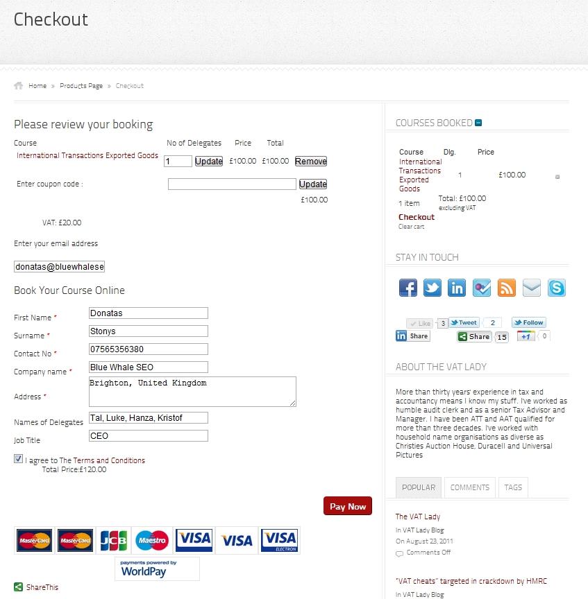 The VAT Lady Checkout page