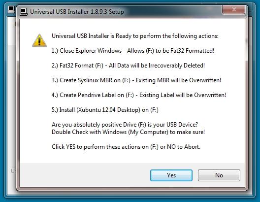 Universal USB Installer Confirmation