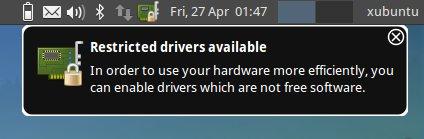 Xubuntu Proprietary Drivers Warning