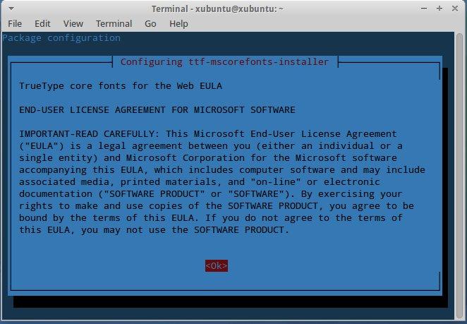 Xubuntu - TrueType Core Fonts Agreement 1