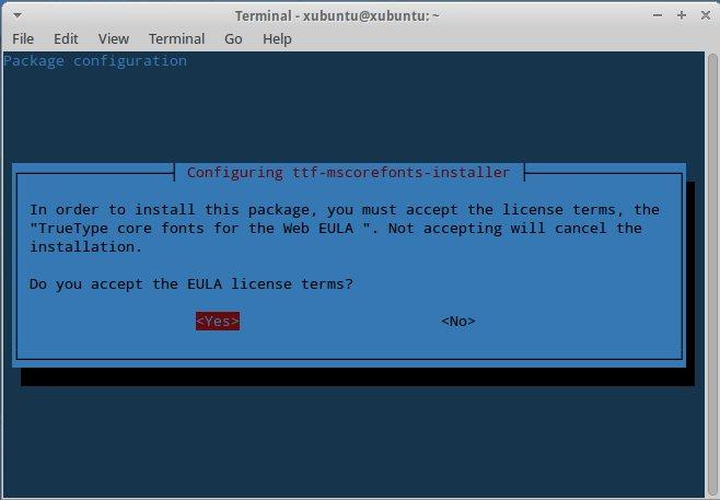 Xubuntu - TrueType Core Fonts Agreement 2